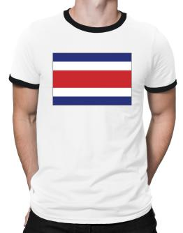 Costa Rica Flag Ringer T-Shirt