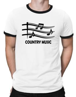 Country Music - Musical Notes Ringer T-Shirt