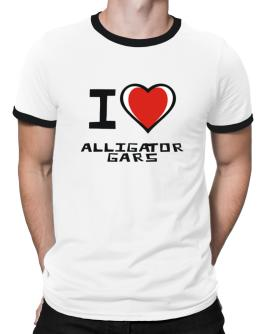 I Love Alligator Gars Ringer T-Shirt