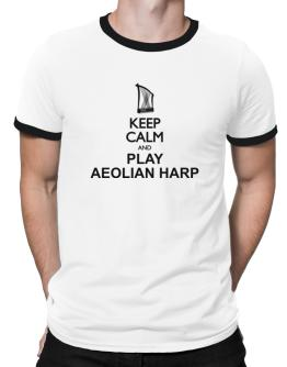 Keep calm and play Aeolian Harp - silhouette Ringer T-Shirt
