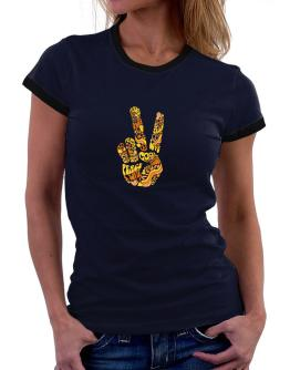 Peace Sign - Hand Collage Women Ringer T-Shirt