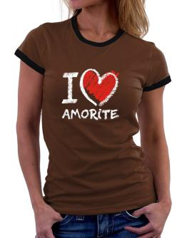 I love Amorite chalk style Women Ringer T-Shirt