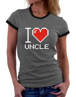 I love Auncle pixelated Women Ringer T-Shirt