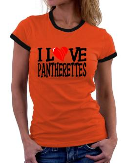 I Love Pantherettes - Scratched Heart Women Ringer T-Shirt