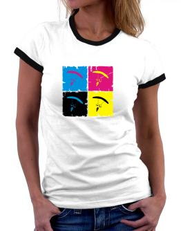 Skydiving - Pop Art Women Ringer T-Shirt