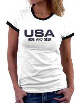 Usa Hide And Seek / Athletic America Women Ringer T-Shirt