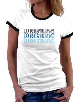Wrestling Retro Color Women Ringer T-Shirt