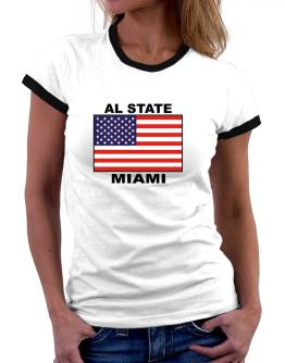 """ Miami - US Flag "" Women Ringer T-Shirt"
