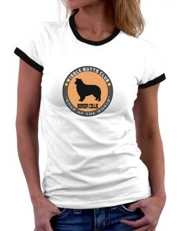 Border Collie - Wiggle Butts Club Women Ringer T-Shirt