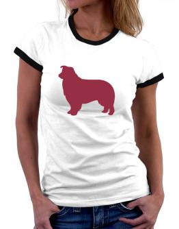 Border Collie Silhouette Embroidery Women Ringer T-Shirt