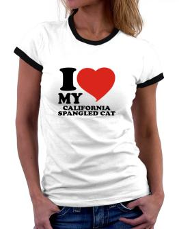 I Love My California Spangled Cat Women Ringer T-Shirt