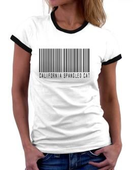 California Spangled Cat Barcode Women Ringer T-Shirt