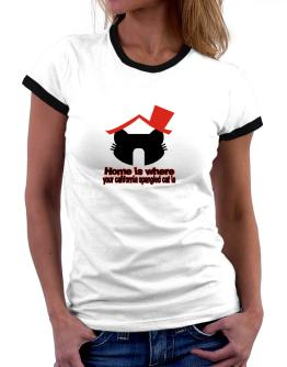 Home Is Where California Spangled Cat Is Women Ringer T-Shirt