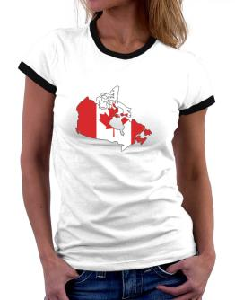 Canada - Country Map Color Simple Women Ringer T-Shirt
