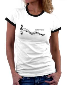 Detroit Techno - Notes Women Ringer T-Shirt