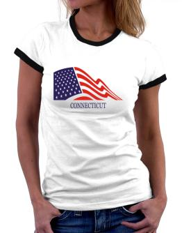 Flag Usa Connecticut Women Ringer T-Shirt