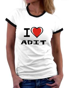 I Love Adit Women Ringer T-Shirt