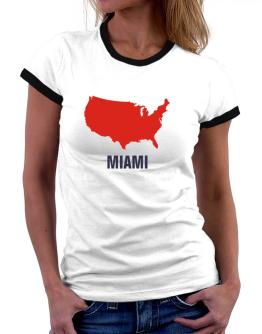 Miami - Usa Map Women Ringer T-Shirt