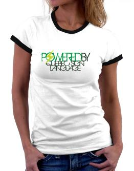 Powered By Quebec Sign Language Women Ringer T-Shirt