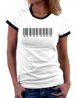 Depressed Barcode Women Ringer T-Shirt