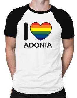 I Love Adonia - Rainbow Heart Raglan T-Shirt