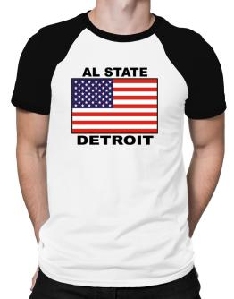 """ Detroit - US Flag "" Raglan T-Shirt"