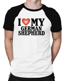 I Love German Shepherd Raglan T-Shirt