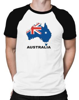 Australia - Country Map Color Raglan T-Shirt