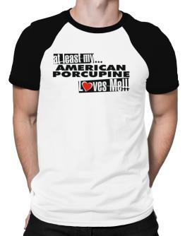 At Least My American Porcupine Loves Me ! Raglan T-Shirt