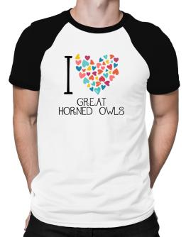 I love Great Horned Owls colorful hearts Raglan T-Shirt