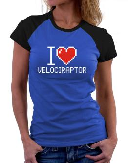 Polo Raglan de I love Velociraptor pixelated