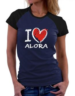 I love Alora chalk style Women Raglan T-Shirt