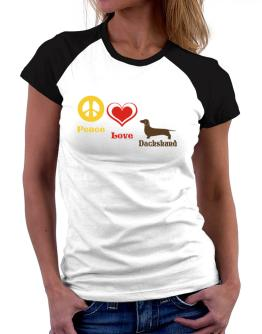 Peace, Love, Dachshund Women Raglan T-Shirt