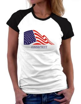 Flag Usa Connecticut Women Raglan T-Shirt