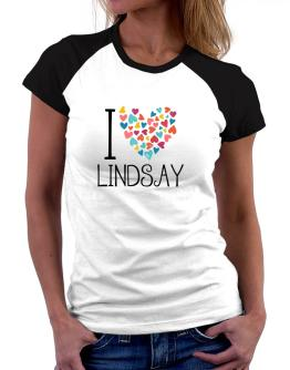 I love Lindsay colorful hearts Women Raglan T-Shirt