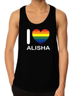 I Love Alisha - Rainbow Heart Tank Top