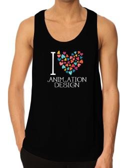 I love Animation Design colorful hearts Tank Top