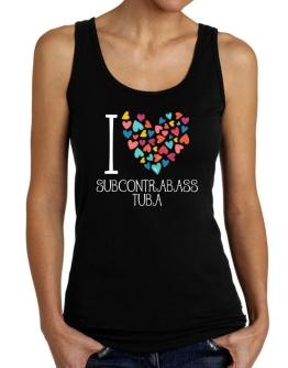 I love Subcontrabass Tuba colorful hearts Tank Top Women