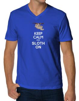 Keep calm and sloth on V-Neck T-Shirt