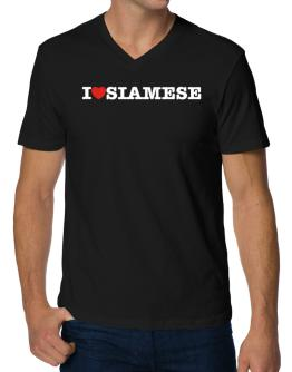 I Love Siamese V-Neck T-Shirt
