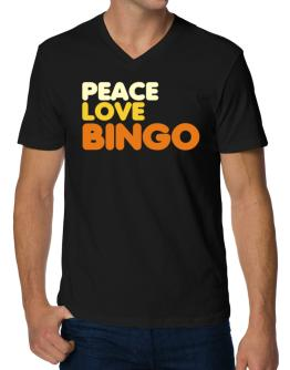 Peace Love Bingo V-Neck T-Shirt