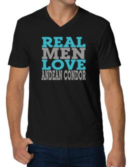 Real Men Love Andean Condor V-Neck T-Shirt