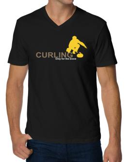 Curling - Only For The Brave V-Neck T-Shirt