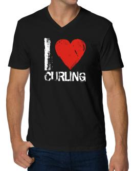 I Love Curling V-Neck T-Shirt