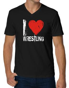 I Love Wrestling V-Neck T-Shirt