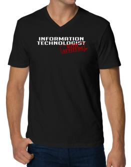 Information Technologist With Attitude V-Neck T-Shirt