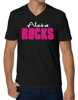 Aleta Rocks V-Neck T-Shirt