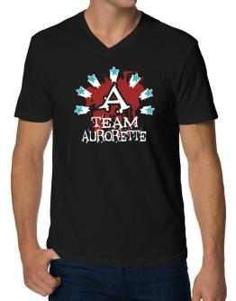 Team Aurorette - Initial V-Neck T-Shirt
