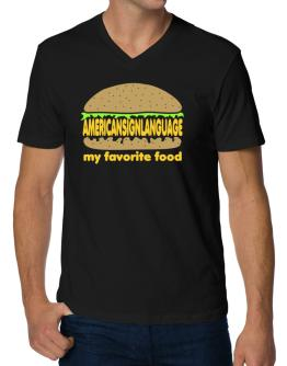 American Sign Language My Favorite Food V-Neck T-Shirt