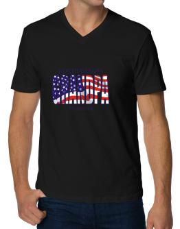 Grandpa Bismarck - Us Flag V-Neck T-Shirt